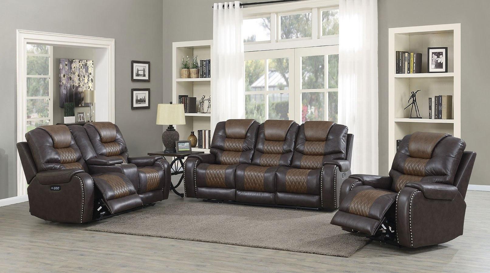. Park Avenue Power Reclining Living Room Set  Brown
