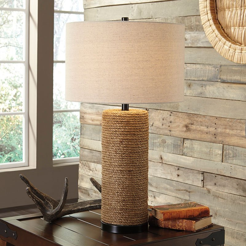 Talbbart Rope Table Lamp Brown Signature Design Furniture Cart