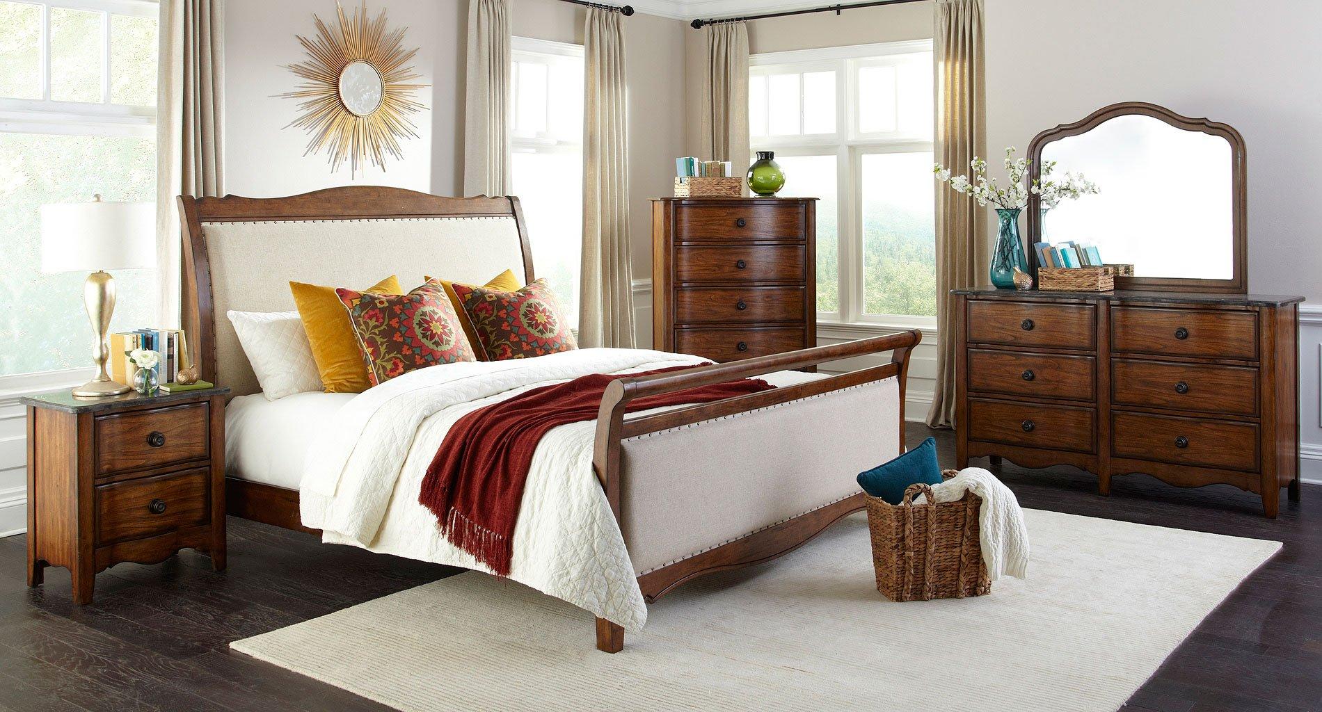 Luciano upholstered sleigh bedroom set intercon furniture furniture cart for Upholstered sleigh bedroom set