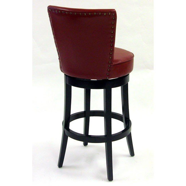 Boston 26 Inch Swivel Barstool In Red Bicast Leather Armen Living