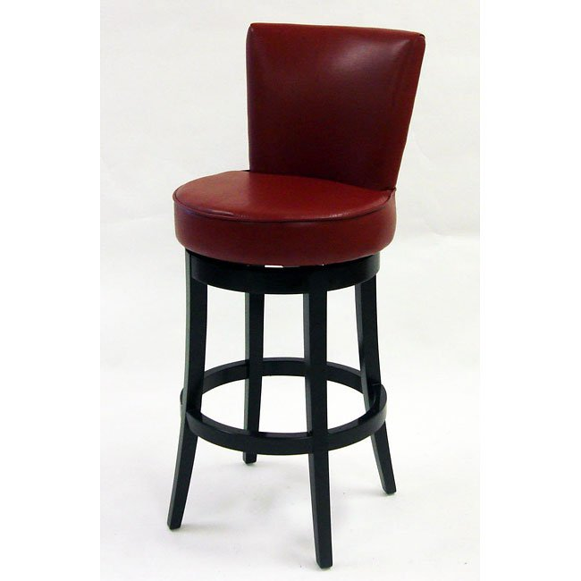Boston 26 inch Swivel Barstool In Red Bicast Leather