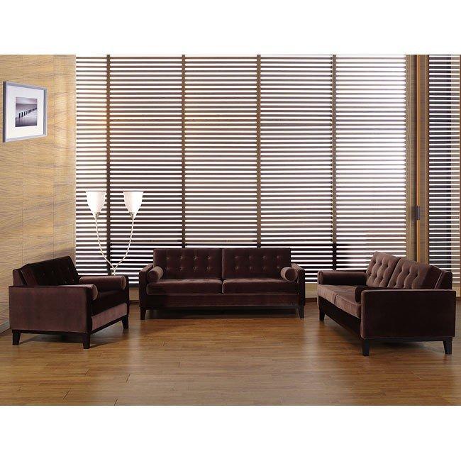 Brown Living Room Tables Sets: Centennial Living Room Set (Brown Velvet) Armen Living