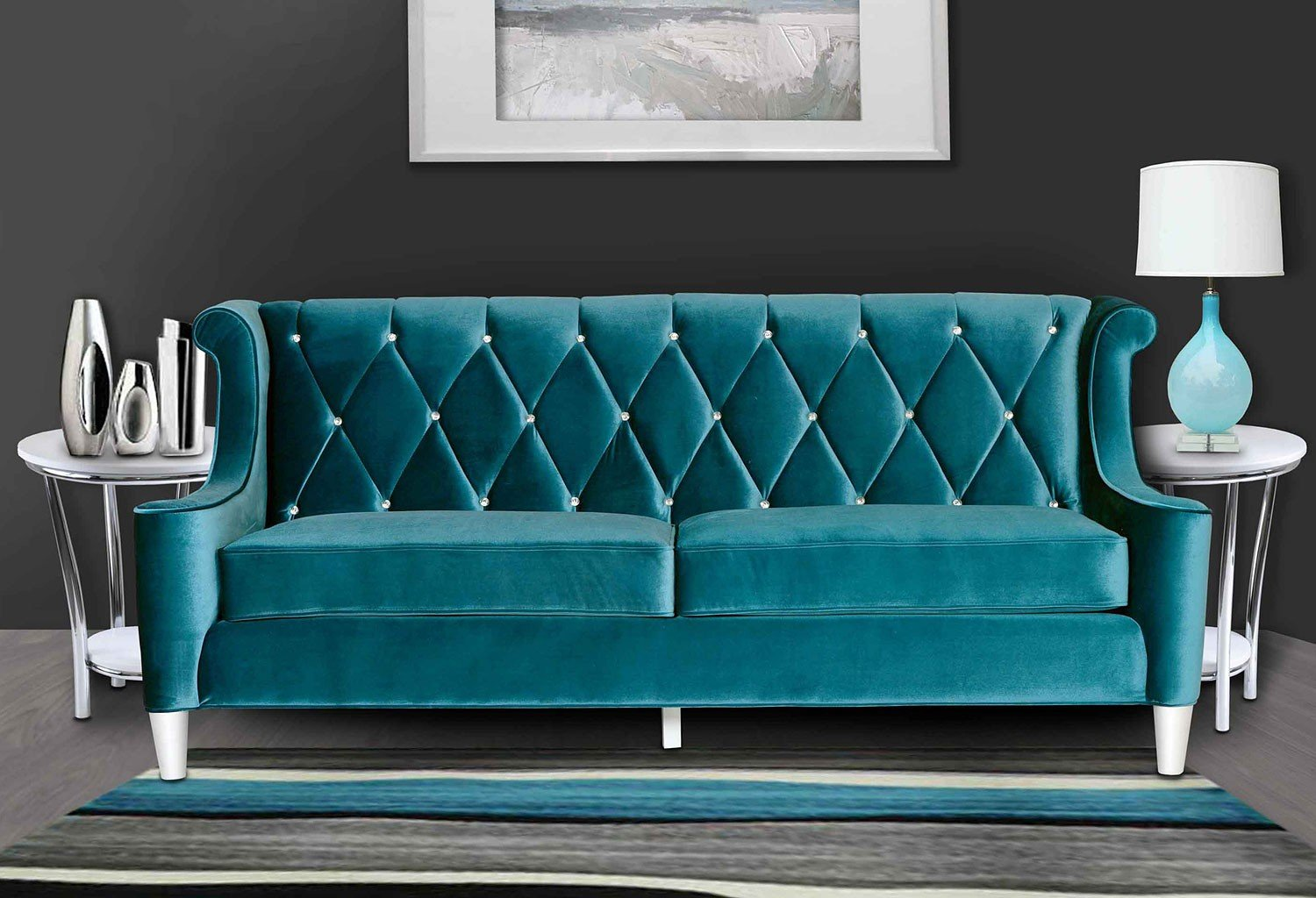 Barrister Sofa Blue Velvet