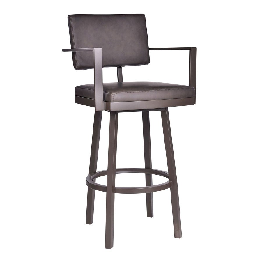 Balboa Counter Height Stool W Arms Brown Armen Living