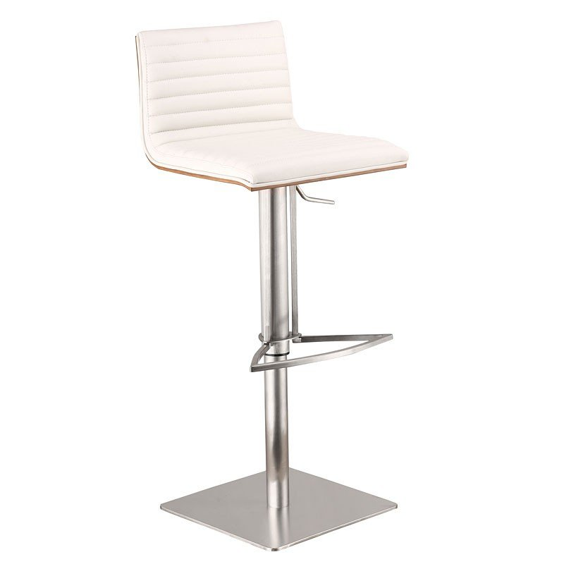 Cafe Adjustable Swivel Barstool White Pu Armen Living