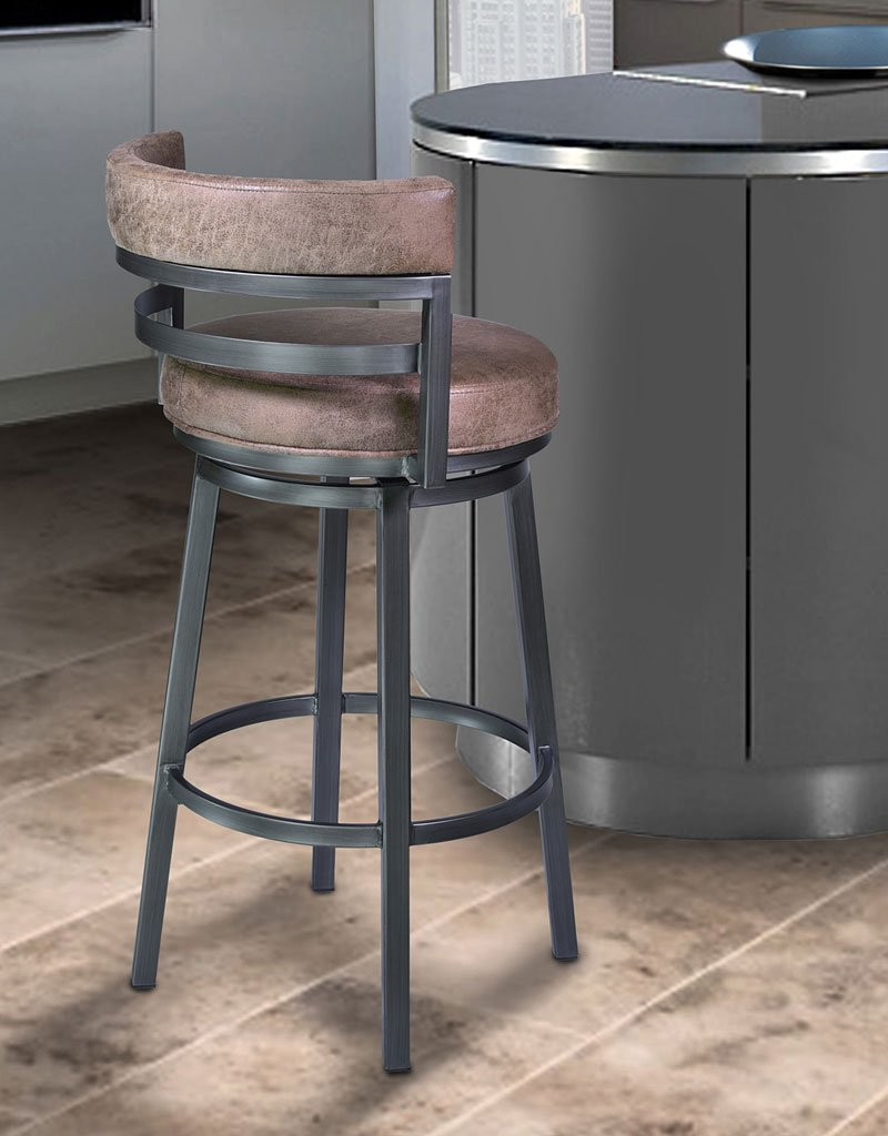 Madrid Counter Height Swivel Barstool Mineral Tobacco