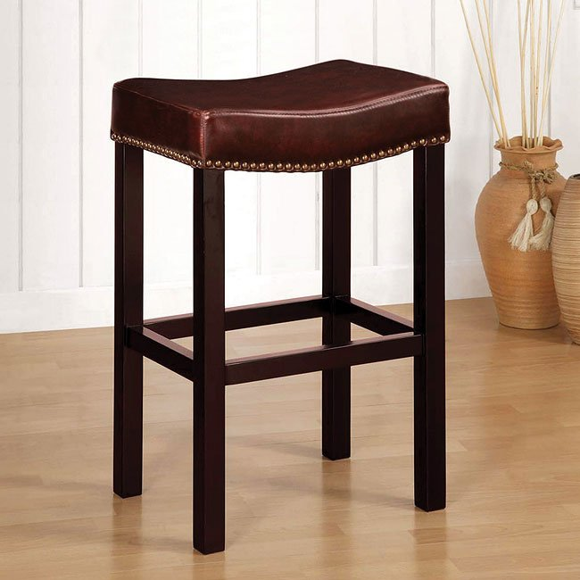 Tudor Backless 26 Inch Barstool Antique Brown Leather