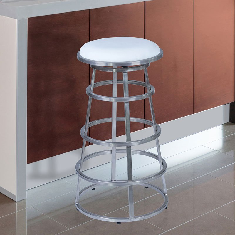 Ringo Bar Height Stainless Steel Barstool (White) By Armen Living