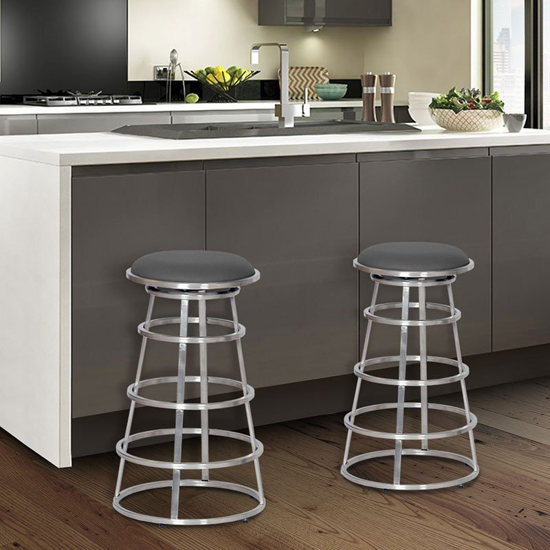 Groovy Ringo Counter Height Stainless Steel Barstool Gray Gmtry Best Dining Table And Chair Ideas Images Gmtryco