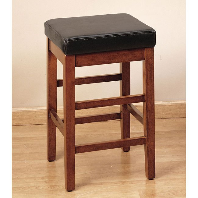 Sonata 26 inch Stationary Barstool (Brown Leather)