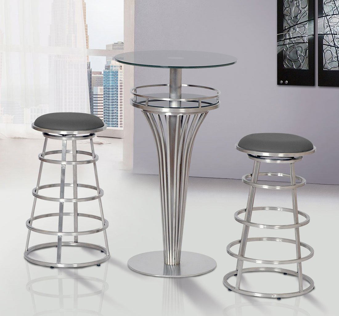 Yukon stainless steel bar table set w ringo barstools