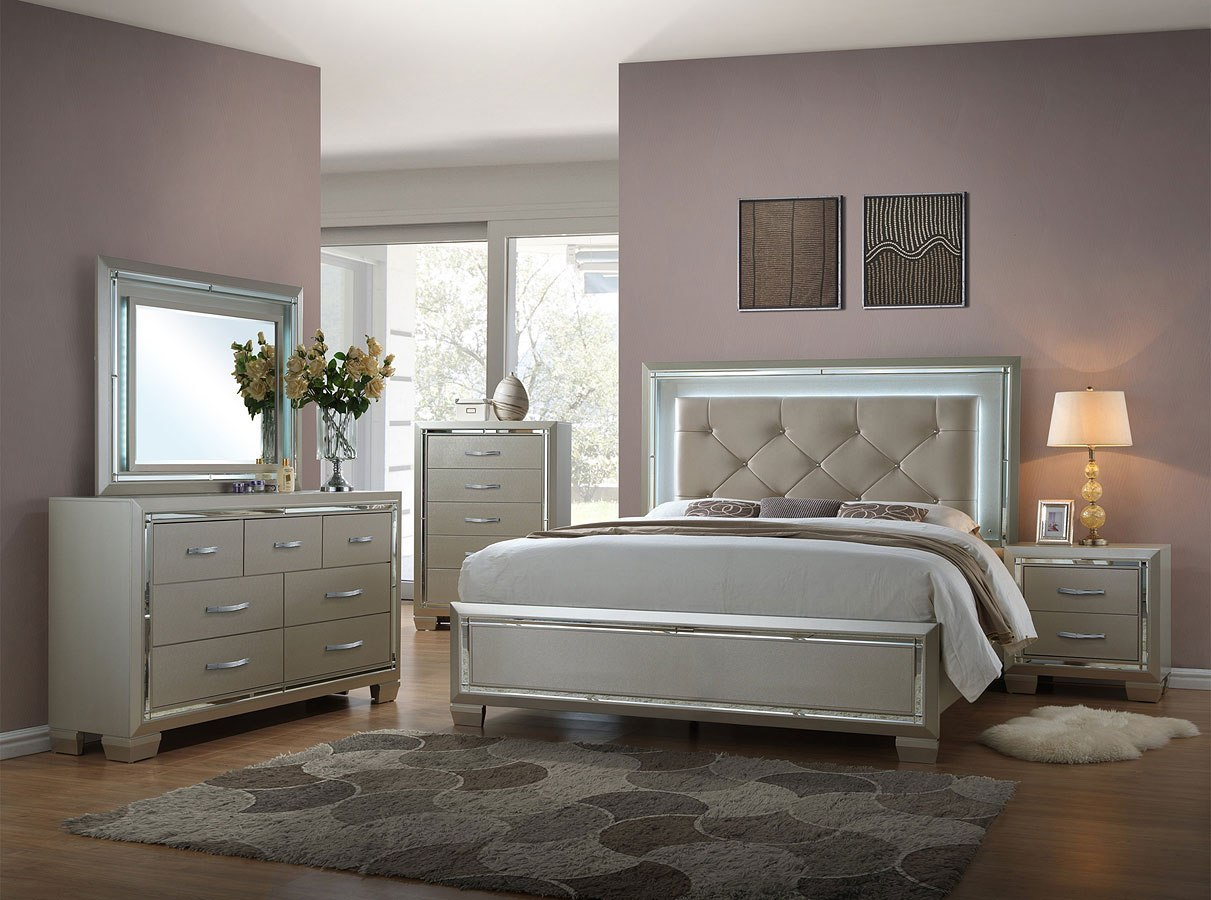 Platinum Panel Bedroom Set