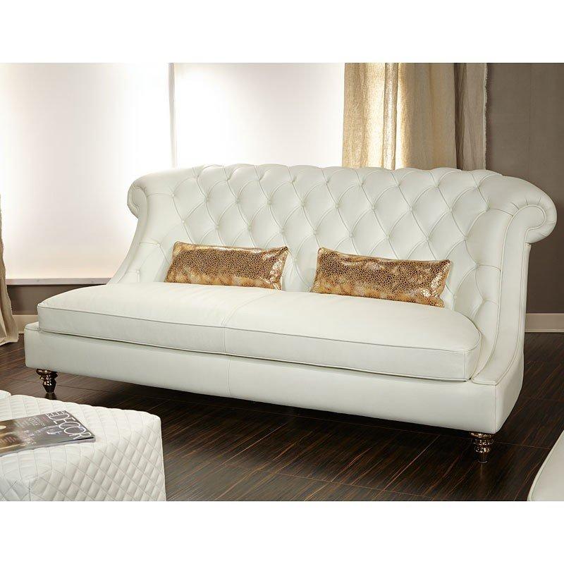 Mia Bella Damario Tufted Living Room Set (White) Aico