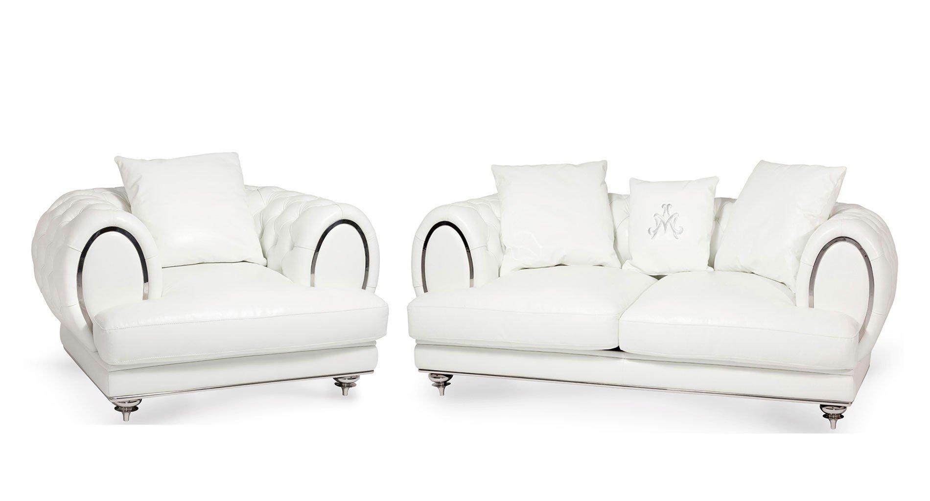 Mia Bella Ellia Leather Living Room Set (Frosted Cream)