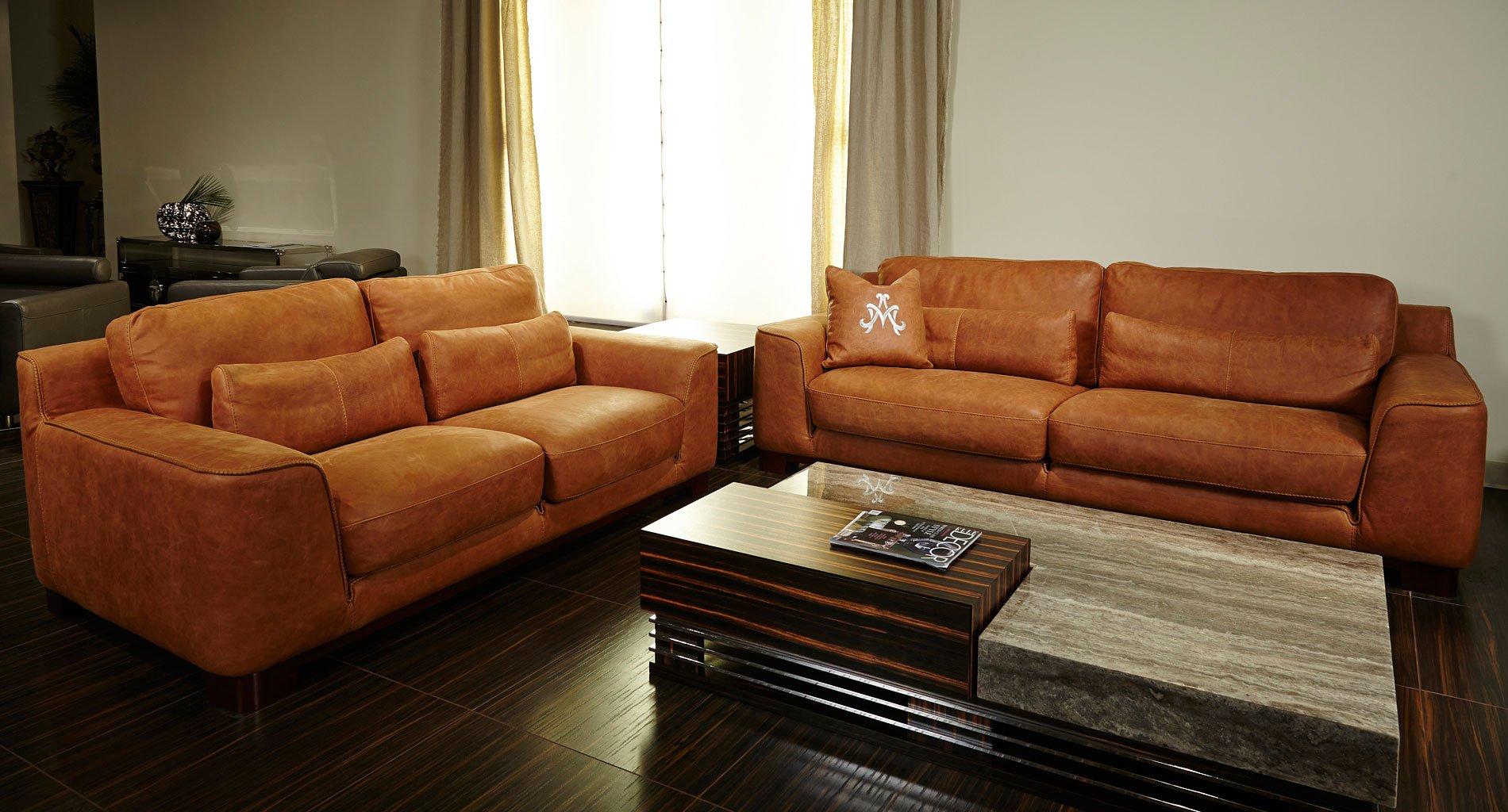 Mia Bella Nafelli Leather Living Room Set Clay