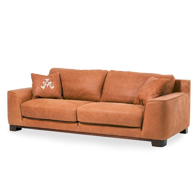 Mia Bella Nafelli Leather Sofa Clay