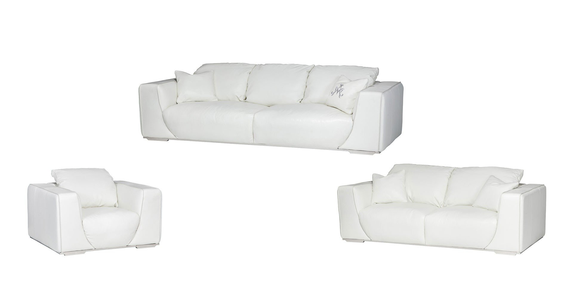 Mia Bella Sophia Leather Living Room Set (White)