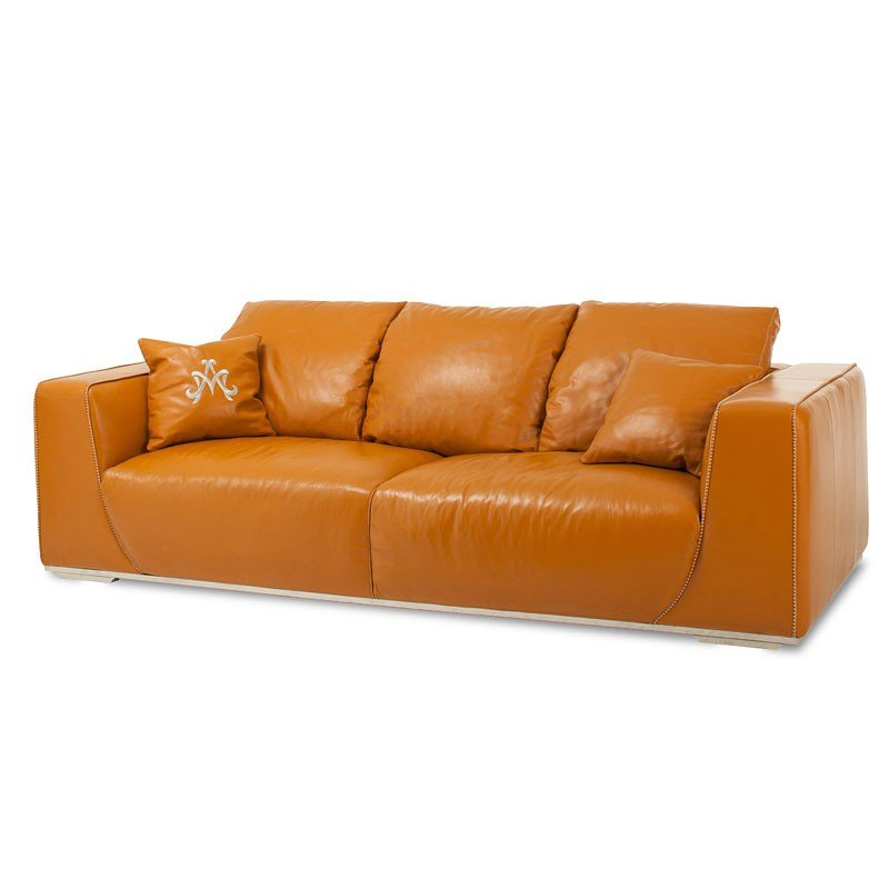 Mia Bella Sophia Leather Mansion Sofa Tangerine