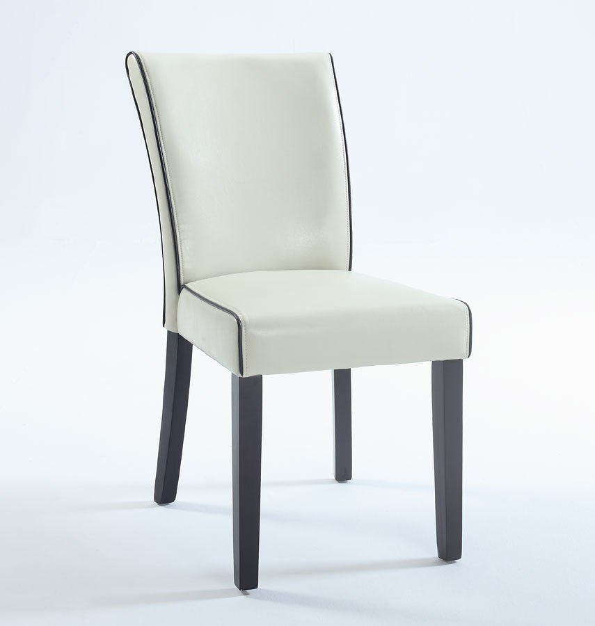 Michelle Bonded Leather Parsons Chair Cream Set Of 2
