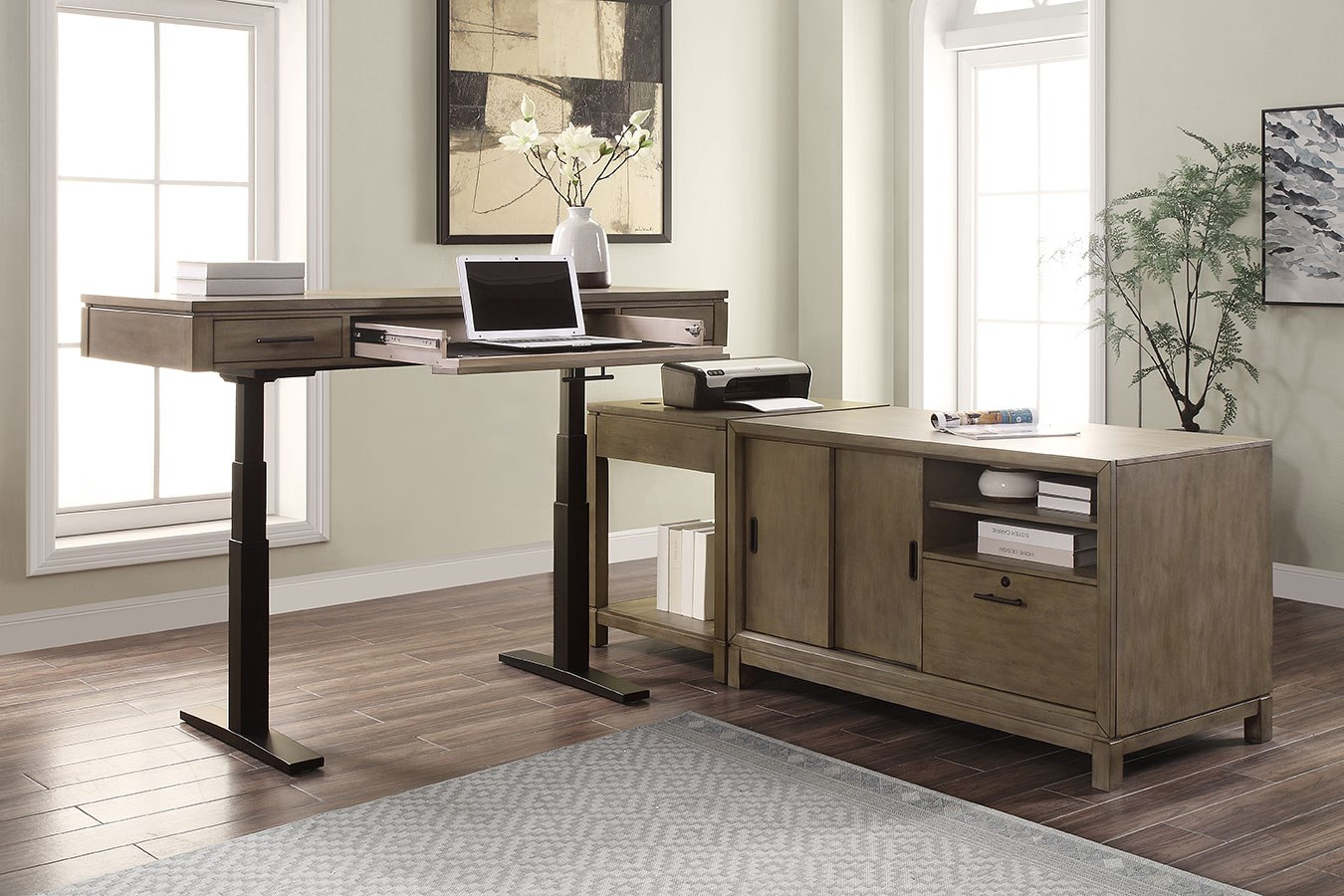 Midtown Modular Home Office Set W/ Power Lift Desk