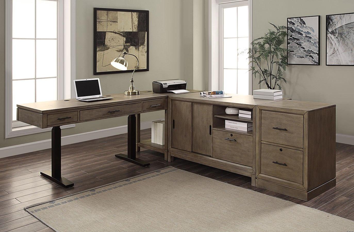 midtown modular home office set w power lift desk parker