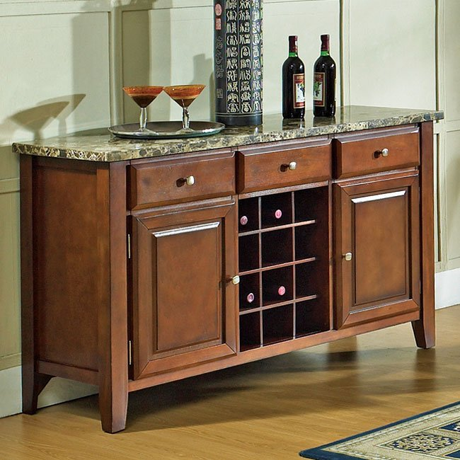 Top Server W Wine Rack: Montibello Dining Room Set W/ 64 Inch Table Steve Silver