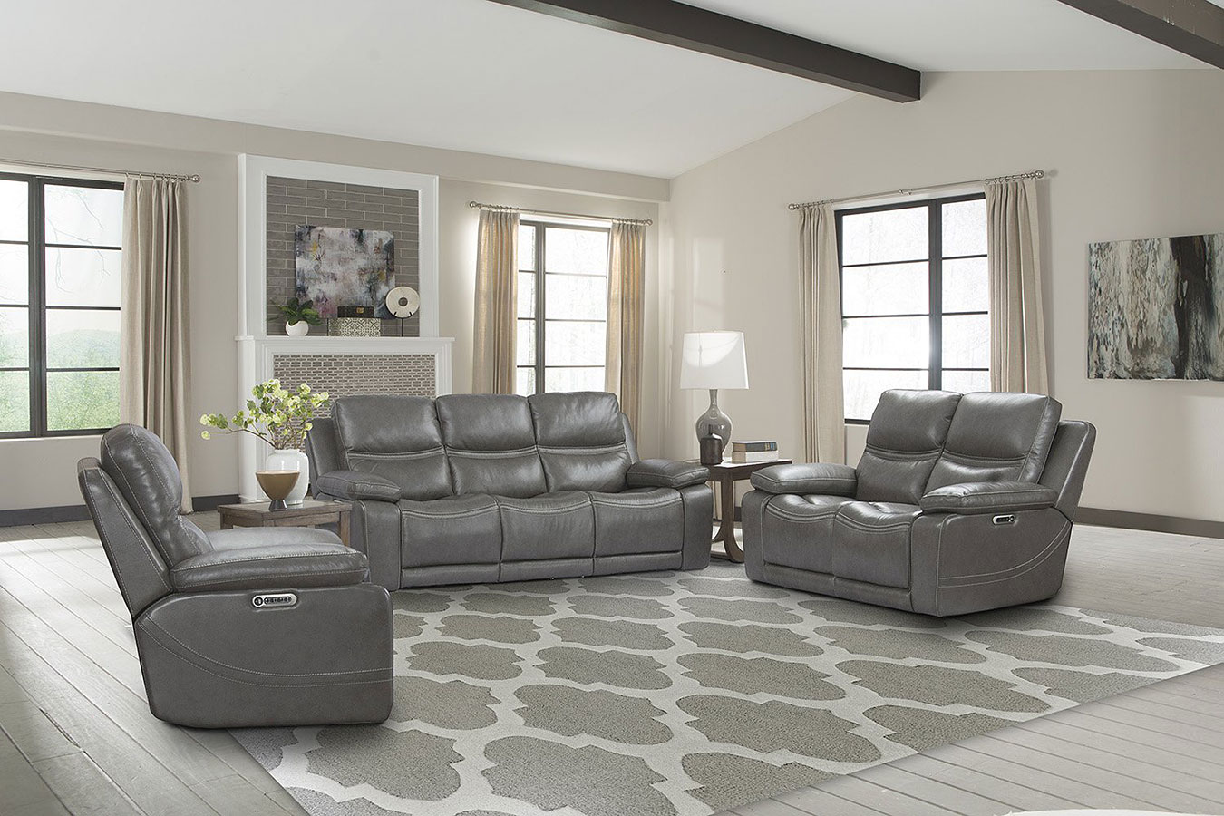 Palmer Power Reclining Living Room Set W Power Headrests