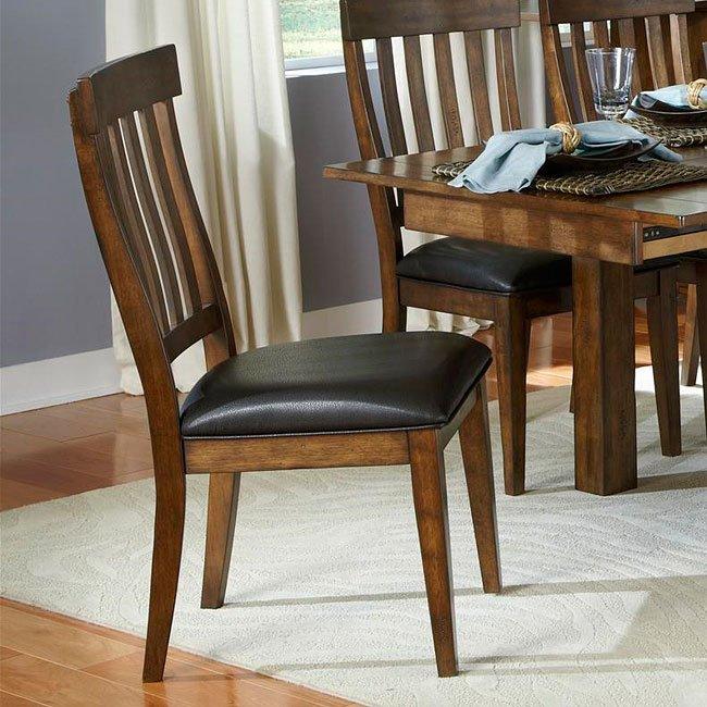 A American Furniture Mariposa: Mariposa 2-Leaf Dining Set W/ Slat Chairs (Rustic Whiskey