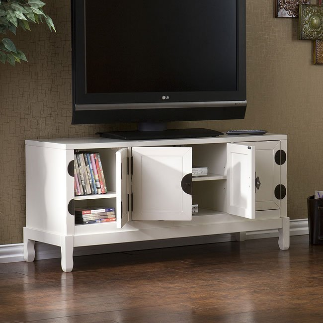 Dynasty Antique White Media Cabinet