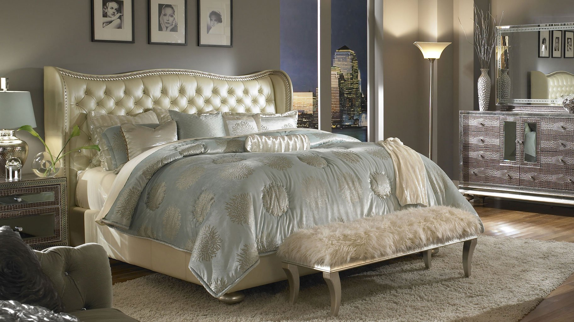 Hollywood Swank Bed (Creamy Pearl)