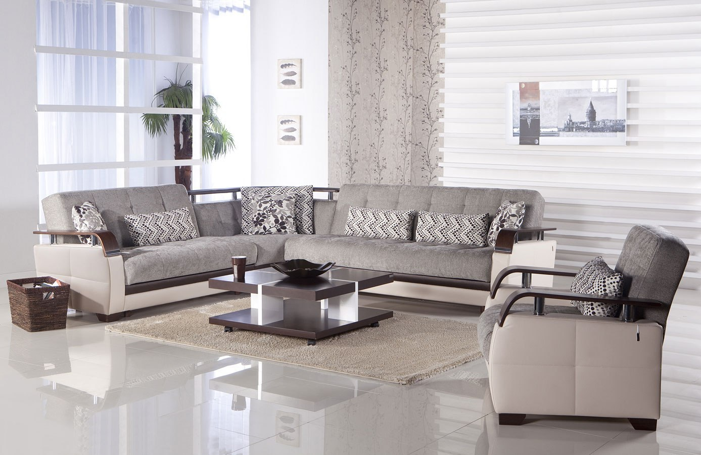 Natural Sectional Set Valencia Grey Istikbal Furniture Furniture