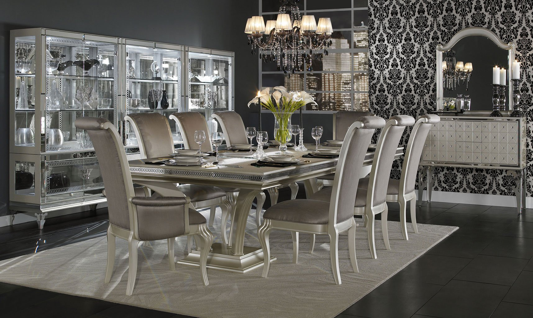 Hollywood Swank Double Pedestal Dining Room Set