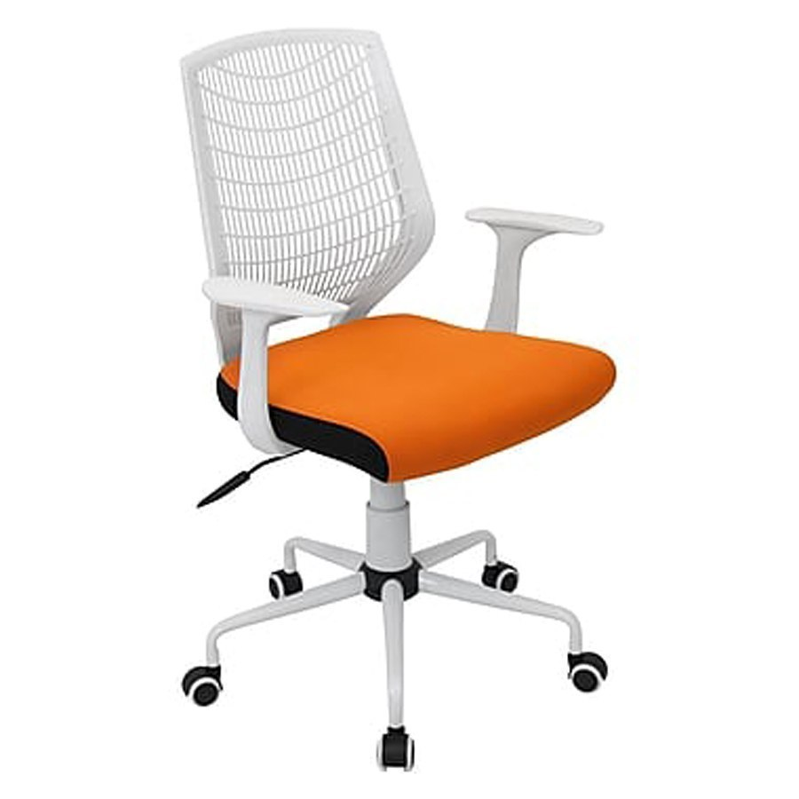 Network Adjustable Office Chair White Orange Lumisource Furniture Cart