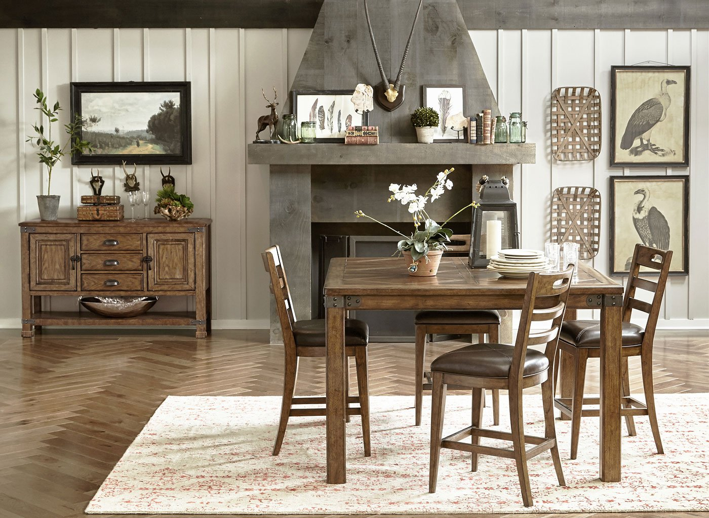 Heartland Falls Counter Height Dining Set w/ Ladder Chairs