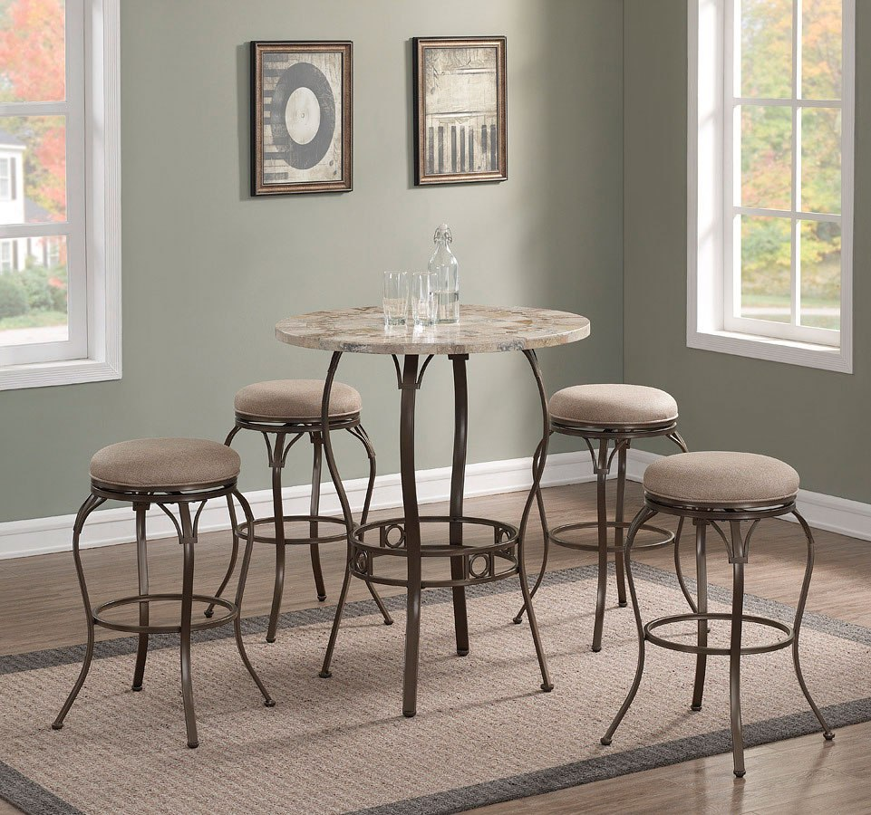 Marble Top Pub Table Set W/ Backless Bar Stools