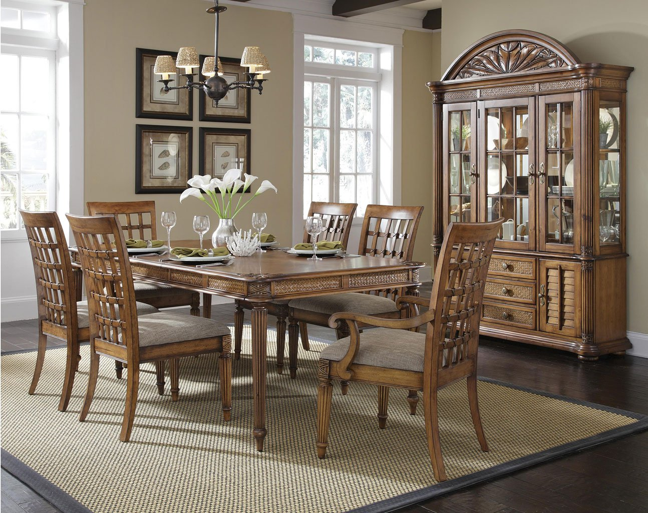 Merveilleux Palm Court Rectangular Dining Room Set W/ Lattice Chairs