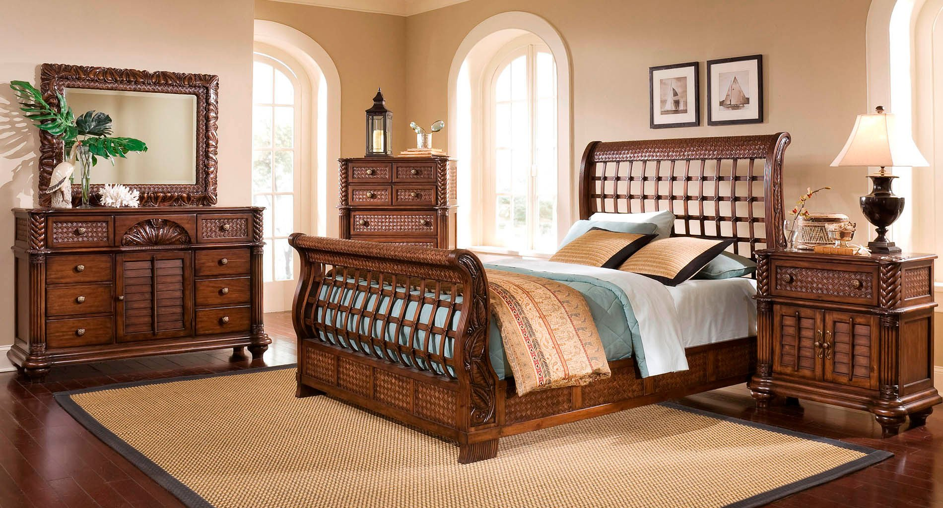 Merveilleux Palm Court II Sleigh Bedroom Set (Coco Brown)