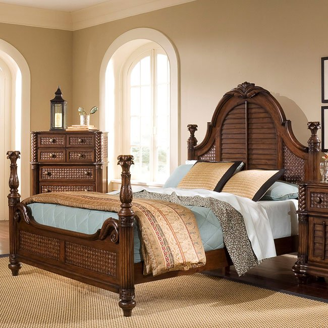 Palm Court Low Post Bed Coco Brown Progressive Furniture Cart