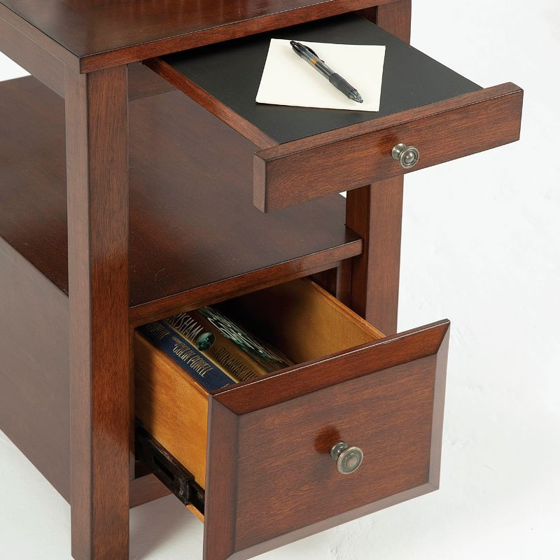Chairside Table W Pull Out Tray And Drawer