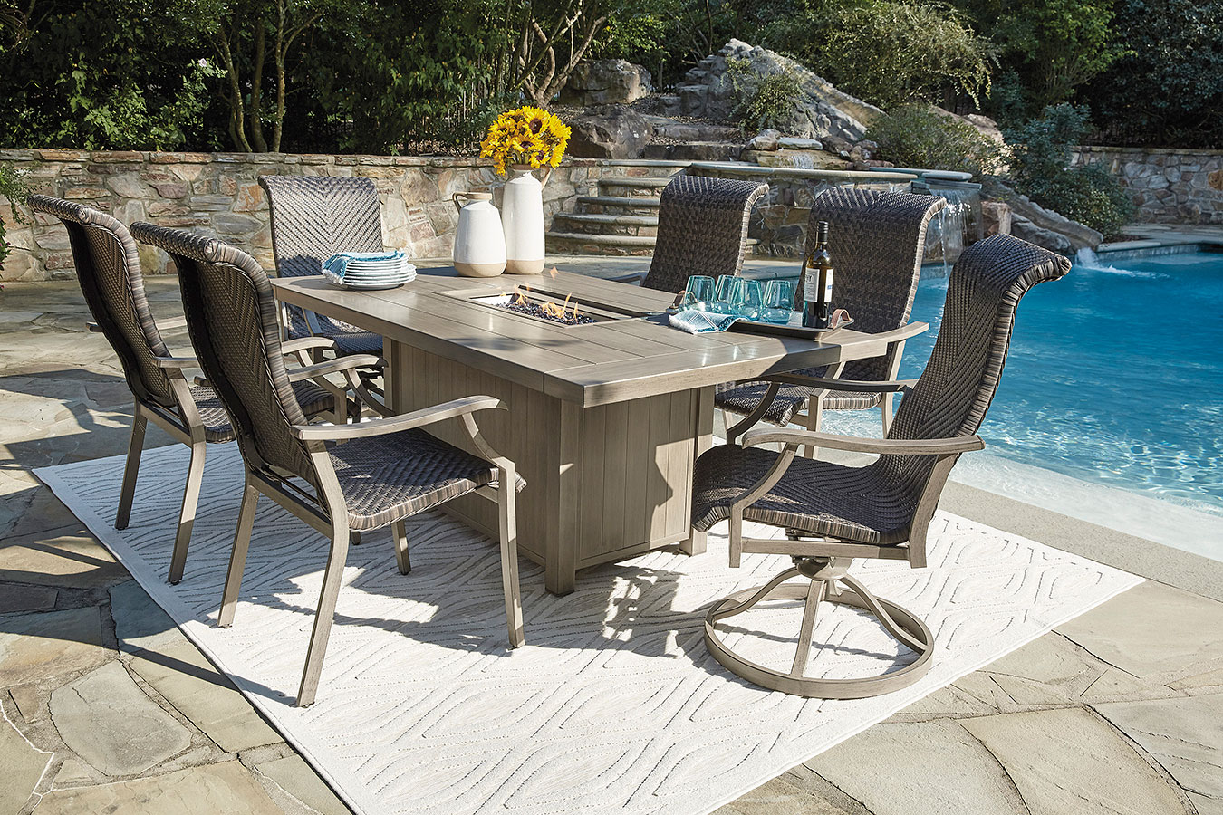 Windon Barn Outdoor Fire Pit Table Set Signature Design ...