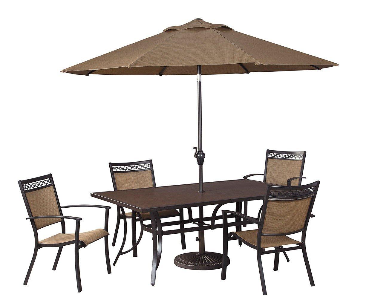 carmadelia outdoor dining set w umbrella signature design furniture cart. Black Bedroom Furniture Sets. Home Design Ideas