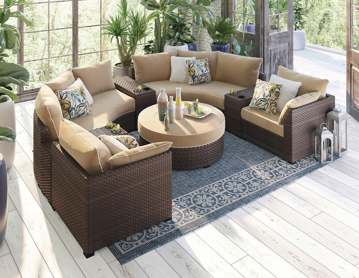 Spring Ridge Outdoor Curved Modular Sectional Set