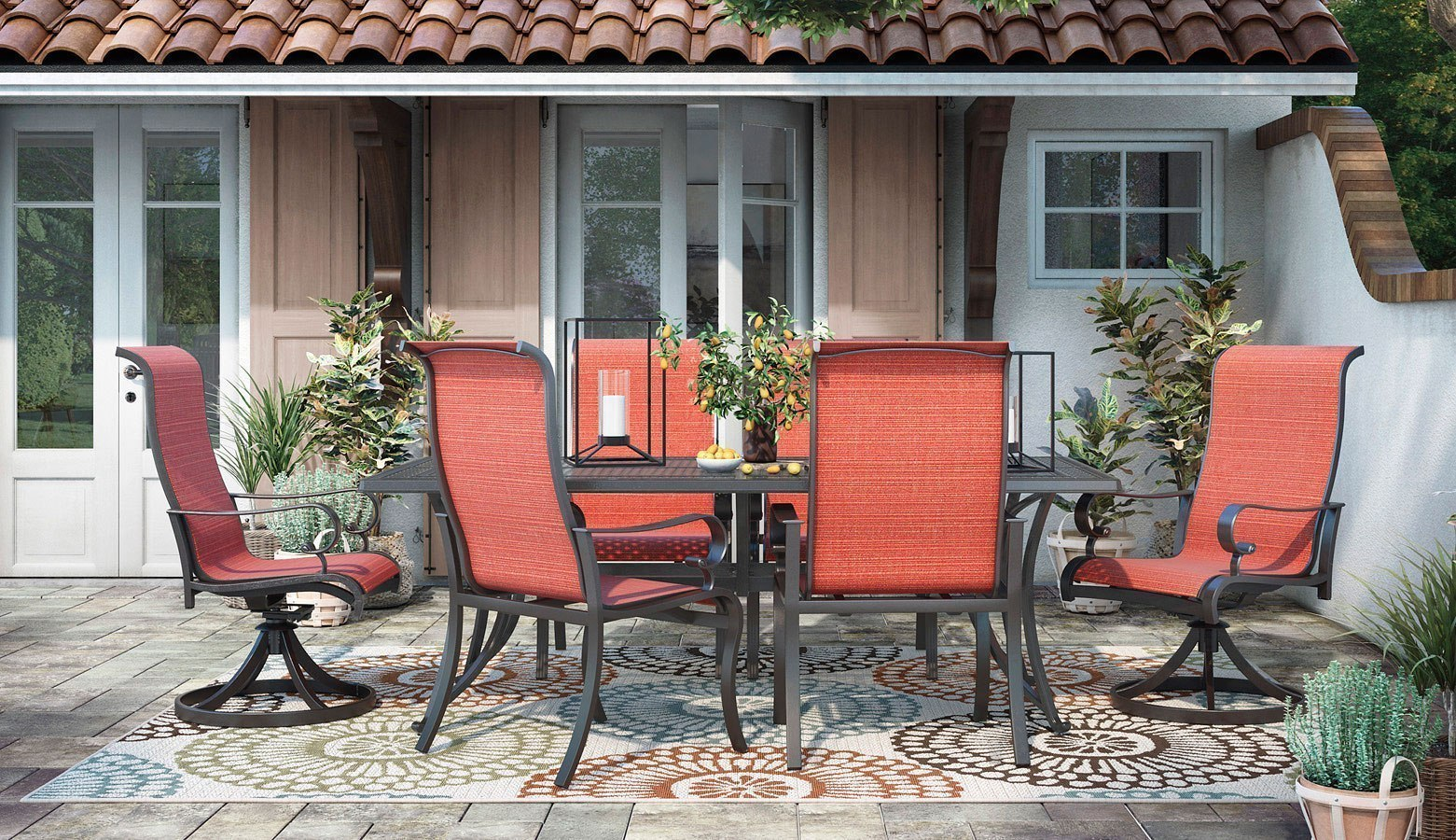 Burnella Outdoor Rectangular Dining Set w/ Apple Town Chairs
