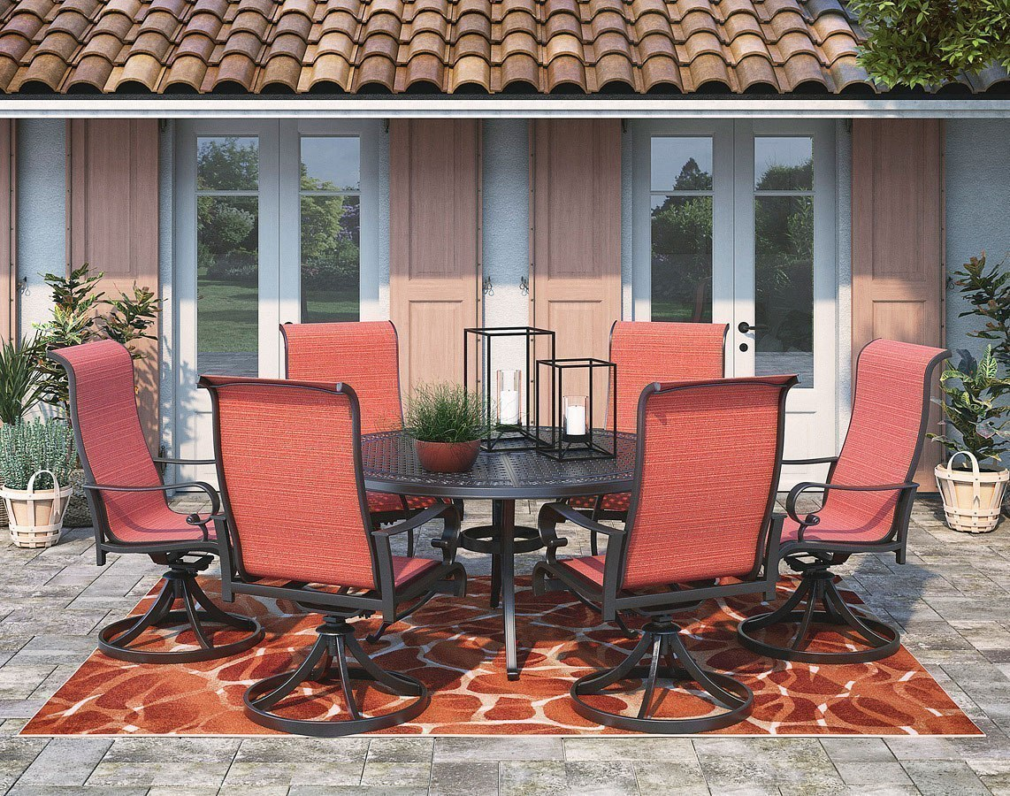 Burnella Outdoor Large Round Dining Set w/ Apple Town Swivel Chairs