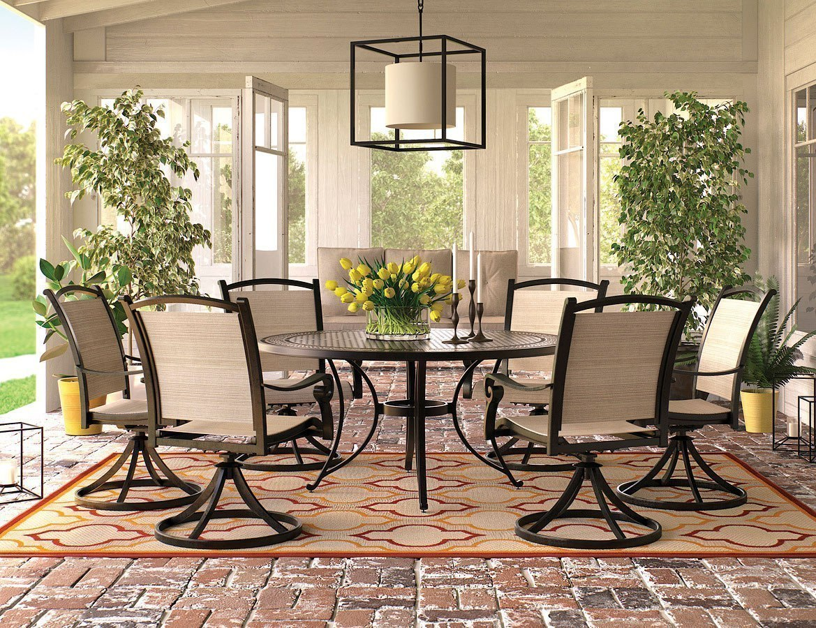 Burnella Outdoor Large Round Dining Set W Bass Lake Swivel Chairs
