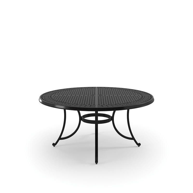 Burnella Outdoor Large Round Dining Table w/ Umbrella Option