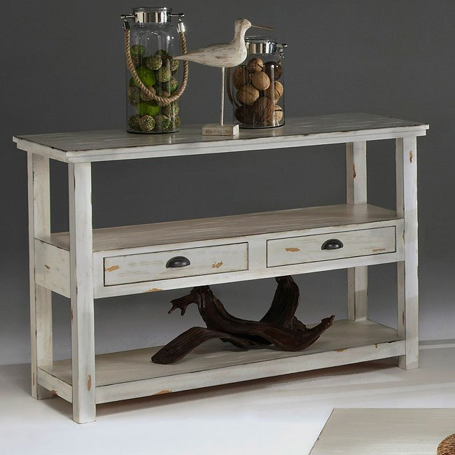 Ordinaire Willow Sofa Table (Distressed White)