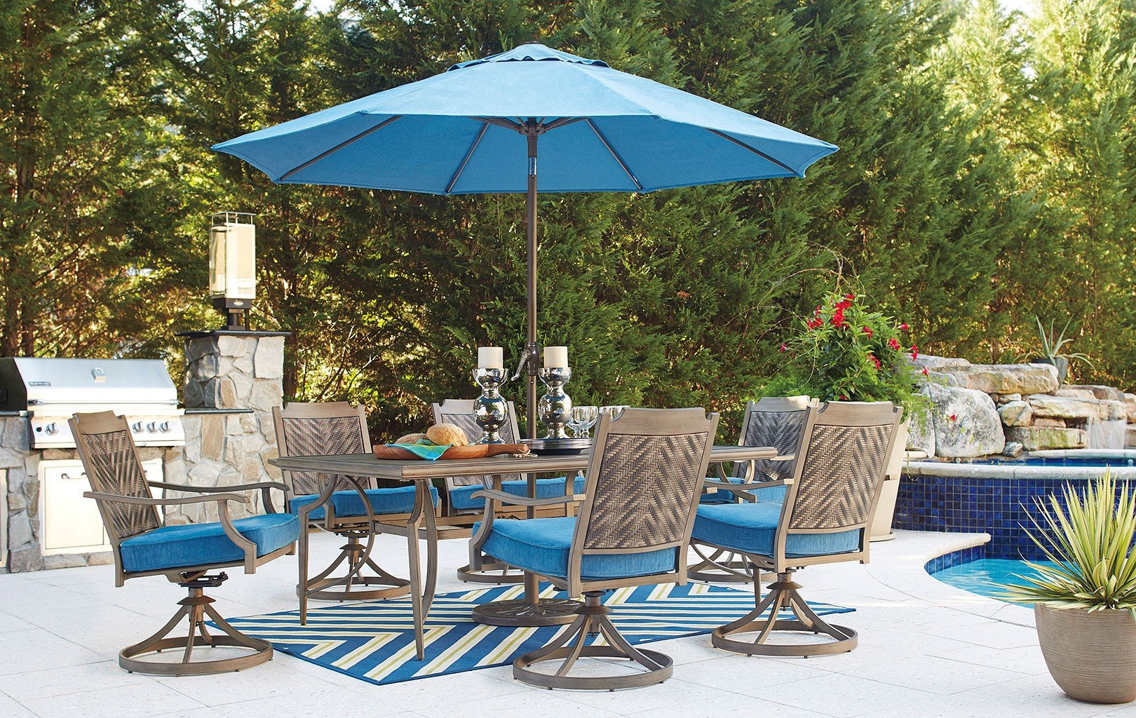 Partanna Outdoor Dining Set w/ Swivel Chairs and Umbrella