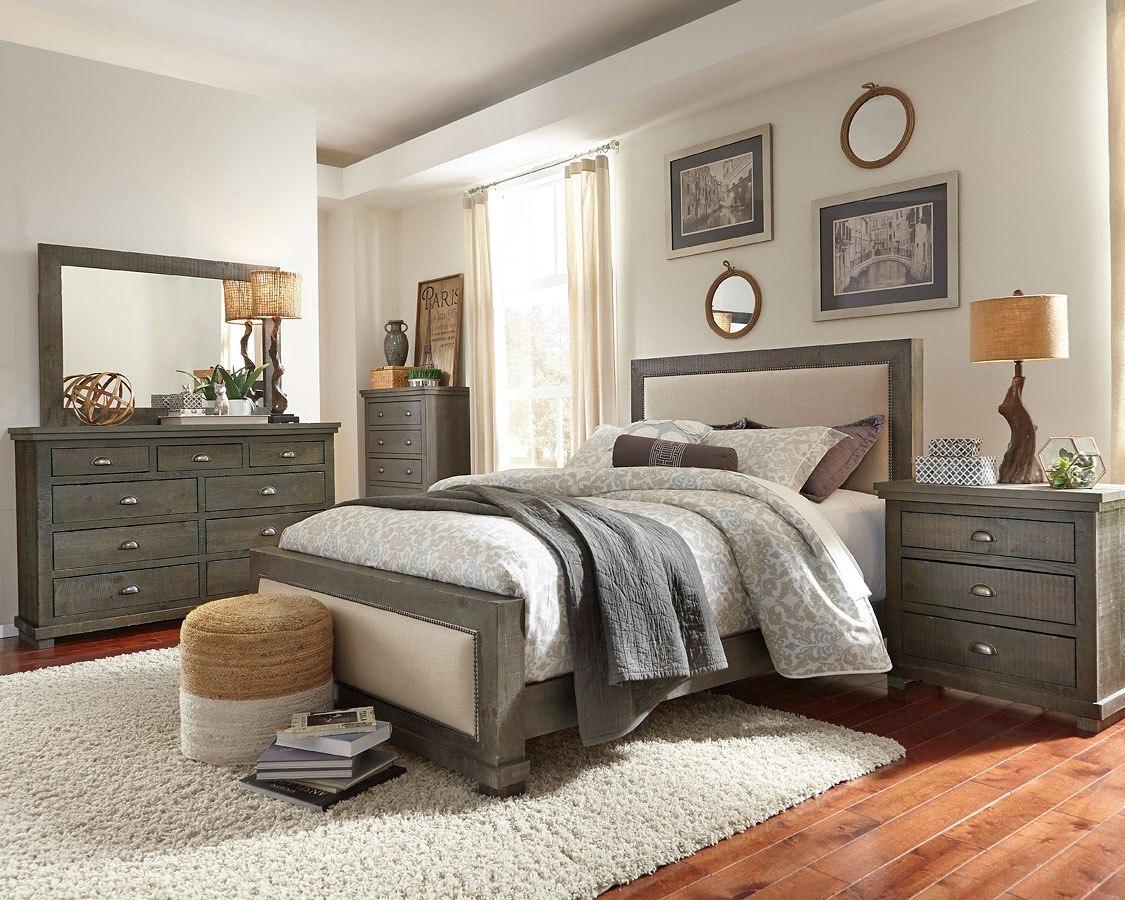Willow Upholstered Bedroom Set Distressed Dark Gray Progressive Furniture 2 Reviews Furniture Cart