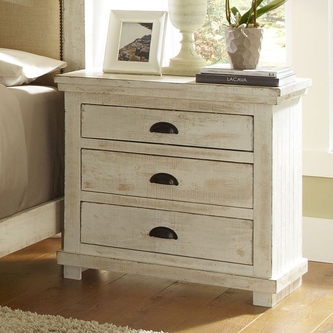 Delicieux Willow Nightstand (Distressed White)